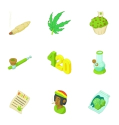 Hemp icons set cartoon style vector image