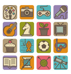 Hobby and leisure time activities bright icons set vector