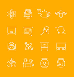 Honey apiary thin line icons set vector