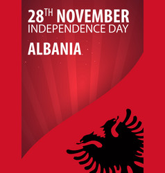Independence day of albania flag and patriotic vector