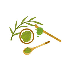 Japanese green matcha powder in bowl with leaves vector