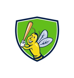 Killer Bee Baseball Player Batting Crest Cartoon vector
