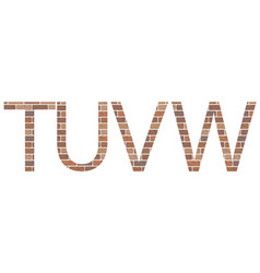 letters tuvw in bricks vector image