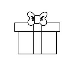 Line box of present gift with ribbon design vector