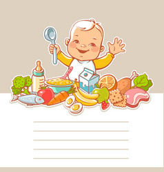 little boy with food vector image