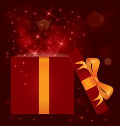 Magic light gift box open vector image