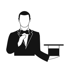 Magician in a black suit holding an empty top hat vector