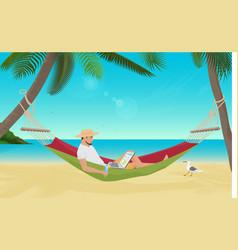 Man businessman sitting in hammock on the sea vector