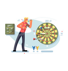 Man playing darts game championship concept vector