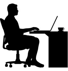 man sitting in an office chair at desk vector image
