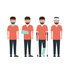 man with various types injuries character with vector image