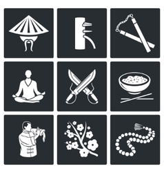 Martial Arts Wing Chun Icons Set vector image