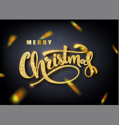 merry christmas lettering greeting card for vector image