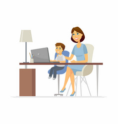 mother and son at laptop - cartoon people vector image