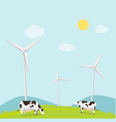 nature landscape with cows and turbine wind vector image