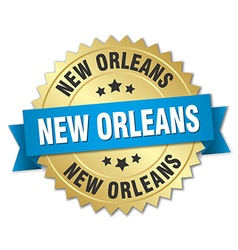 New Orleans round golden badge with blue ribbon vector image