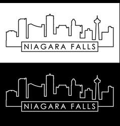 Niagara falls skyline linear style editable vector