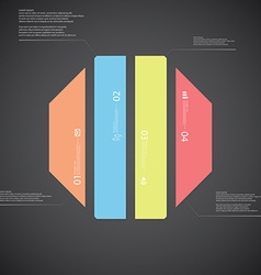 Octagon template consists of four color parts on vector