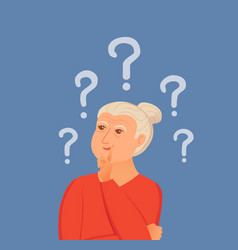 Old woman thinking with question marks vector