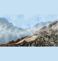 Painted rocky slope in fog among mountains vector