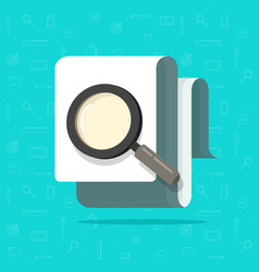 paper document inspection or search via magnifier vector image