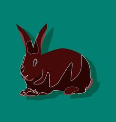 Paper sticker on stylish background rabbit vector