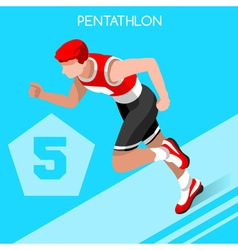 Pentathlon 2016 Summer Games 3D Isometric vector image