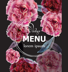 pink roses watercolor menu card template vector image