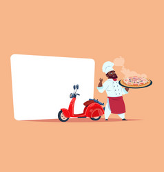 Pizza delivery concept african american chef cook vector