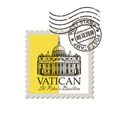 postage mark with saint peters basilica vector image