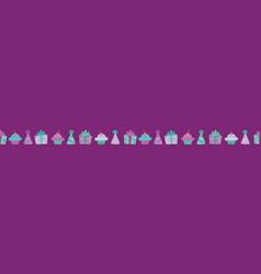 purple birthday items seamless border vector image