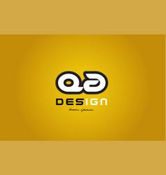 qa q a alphabet letter combination digit white on vector image