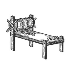 Rack torture device sketch engraving vector