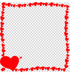 red vintage border made of hearts with arrow vector image
