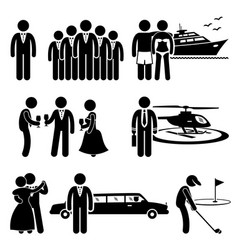rich people high society expensive lifestyle vector image