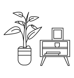 room plant table icon outline style vector image