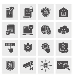 security icon set isolated vector image