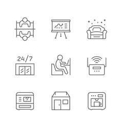 Set line icons co-working vector