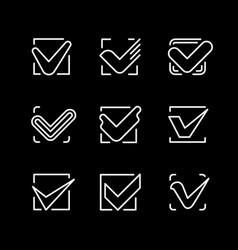 set line icons of check mark vector image