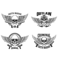 Set of winged skulls with weapon design elements vector