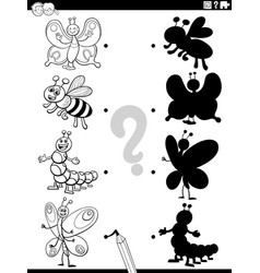 shadow task with cartoon insects coloring book vector image
