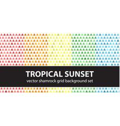 Shamrock pattern set tropical sunset seamless vector