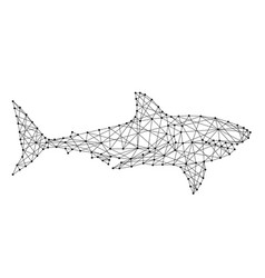 shark swimming from futuristic polygonal black vector image