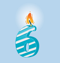 Six numeral celebrate candle vector