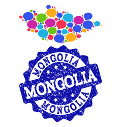 Social network map of mongolia with speech bubbles vector