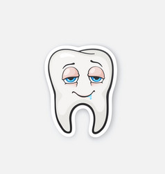 sticker happy drunk tooth with eyes vector image