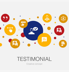 Testimonial trendy circle template with simple vector