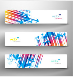three abstract colorful arrows background banners vector image