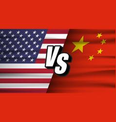 trade war concept american versus china usa vector image
