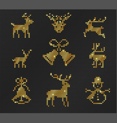 ugly sweater pattern gold vector image